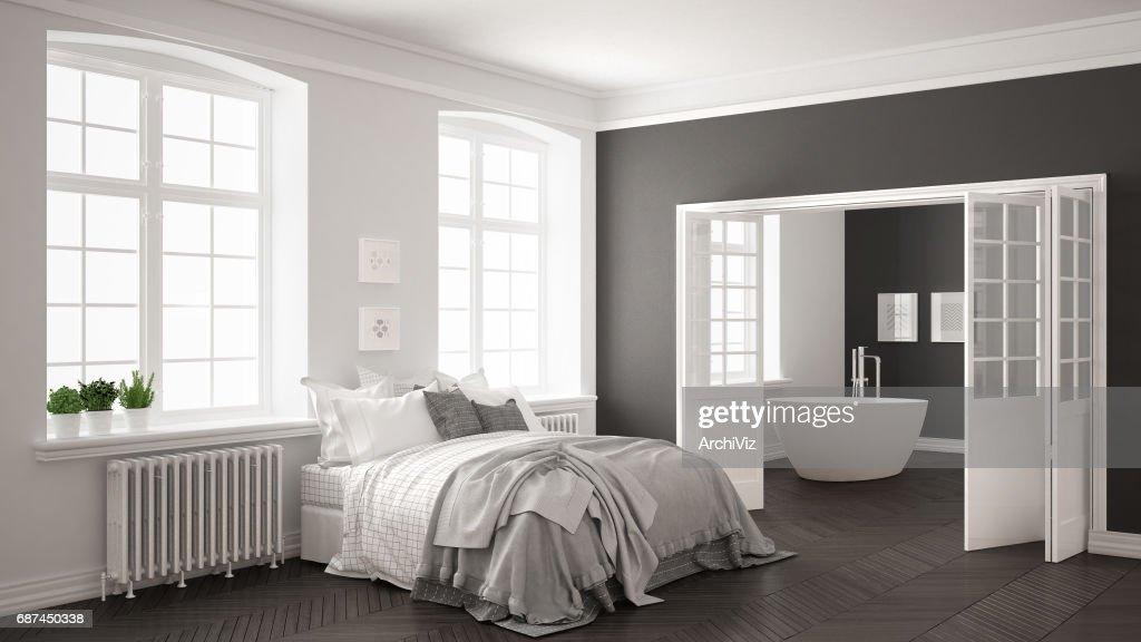Minimalist Scandinavian White Bedroom With Bathroom In The