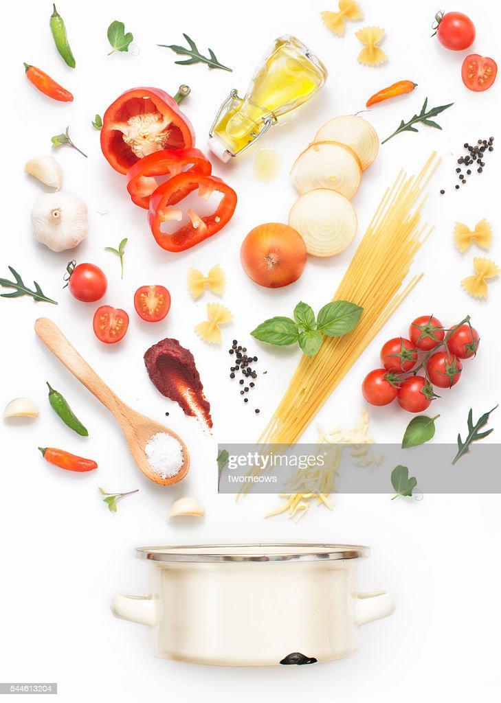 Minimalist style flat lay pasta recipe ingredients and cooking pot on white background. : Stock-Foto