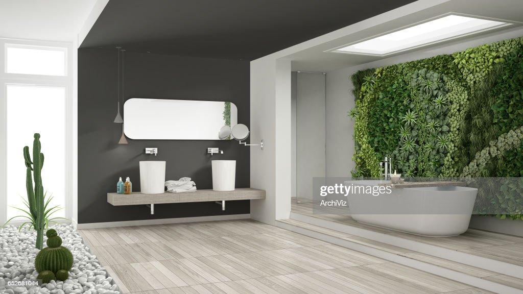 Minimalistische witte en grijze badkamer met verticale en sappige
