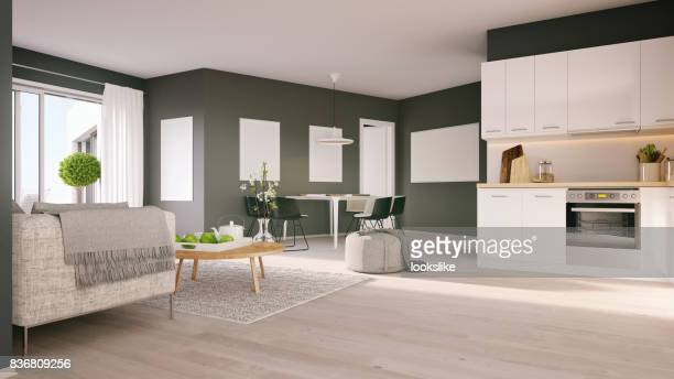 minimalistic nordic interior - carpet decor stock photos and pictures