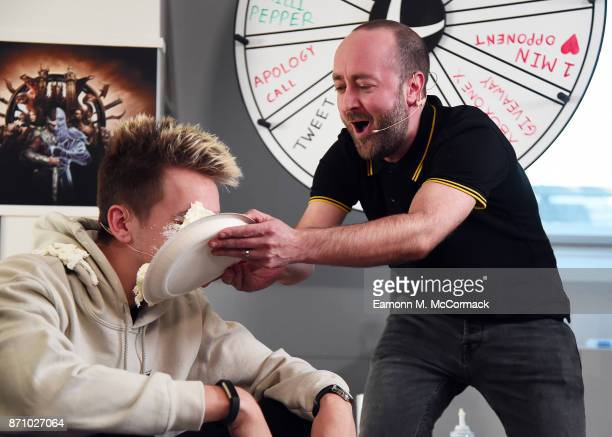 Miniminter loses at the Wheel of Misfortune receives a pie in the face from Total Tekkers' Rocket at the Xbox One X Launch Livestream on November 6...
