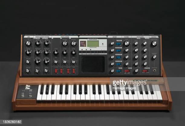 Minimoog Voyager, a monophonic analog synthesizer, owned by record producer and artist J Dilla. The synthesizer features a small keyboard set into a...