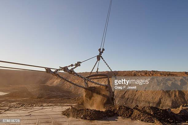 Mining  dragline bucket in action