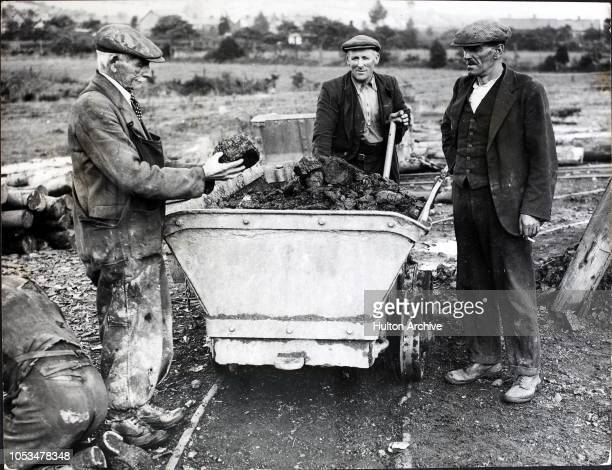 A mining engineer inspects the coal brought up from the Trefach Jubilee Colliery a mine run by twenty unemployed men at HeolyCyw near Bridgend in...