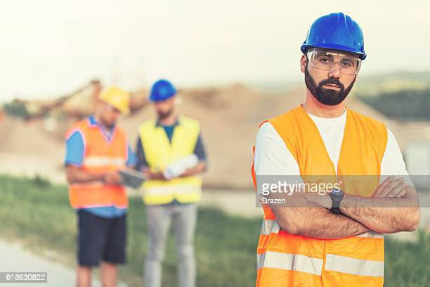 Mining engineers near mining pit