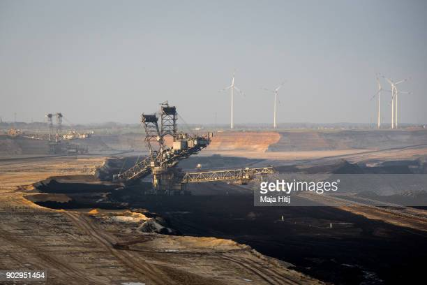 Mining machines operate in the openstrip coal mine in Garzweiler in Jackerath Germany on January 9 2018 The village of Immerath will be completely...
