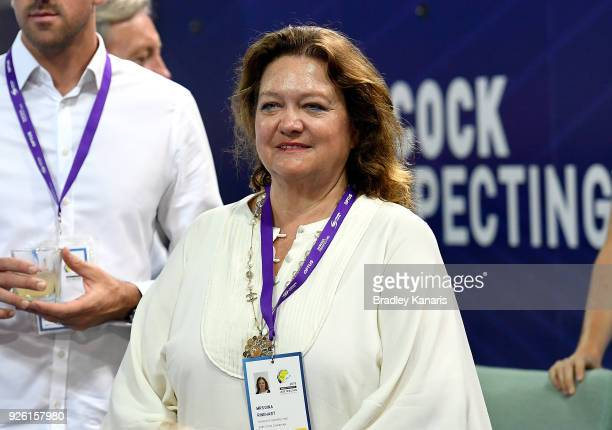 Mining magnate and business women Gina Rinehart is seen watching on during the 2018 Australia Swimming National Trials at the Optus Aquatic Centre on...