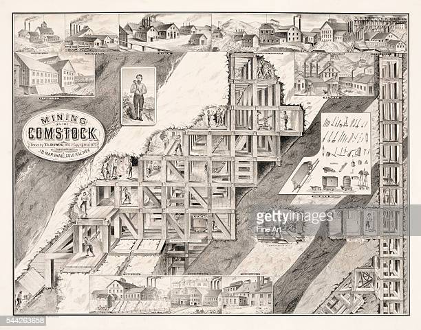 Mining on the Comstock Lode lithograph drawn by TL Dawes engraved and printed by Le Count Brothers San Francisco c 187677