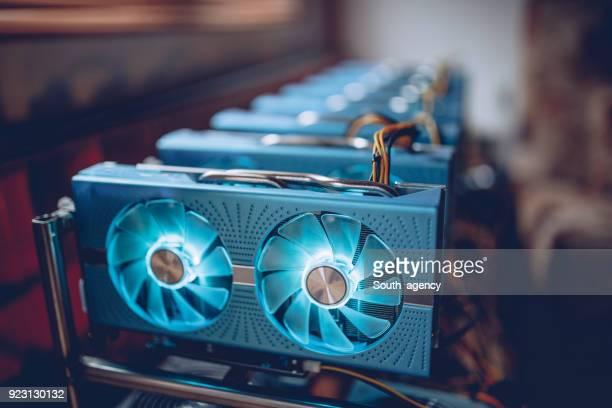 mining rig - cryptocurrency mining stock pictures, royalty-free photos & images