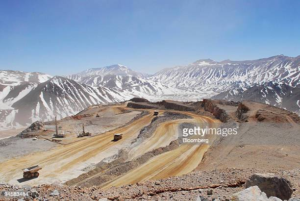 Mining trucks weave through Barrick Gold Corp's Veladero mine in the San Juan province of Argentina on Tuesday Oct 16 2007