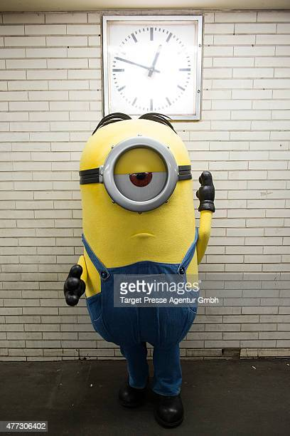 Minion poses in the Underground during a photocall for the film 'Minions' at Mehringdamm on June 16 2015 in Berlin Germany