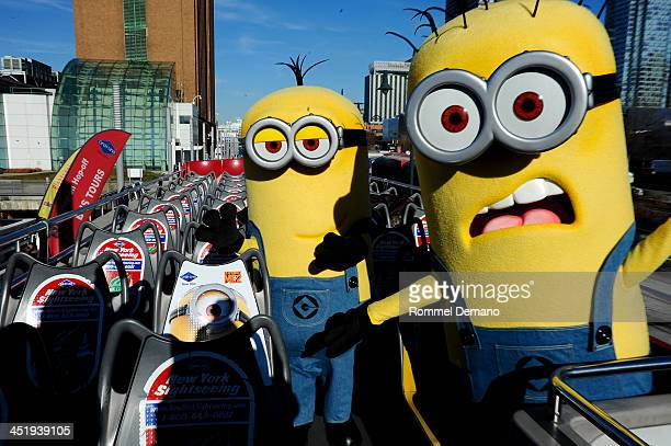 Minions from the film 'Despicable Me 2' attend the Gray Line New York's Ride Of Fame Honors 'Despicable Me 2' at Pier 78 on November 25 2013 in New...