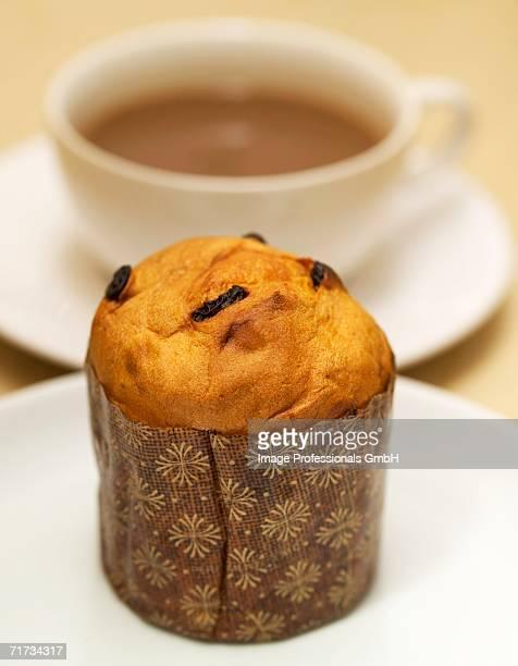 mini-panettone and cup of coffee - panettone foto e immagini stock