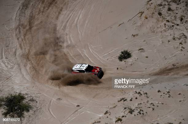 Mini's driver Boris Garafulic of Chile and co-driver Portuguese Filipe Palmeiro compete during the Stage 10 of the Dakar 2018 between Salta and...