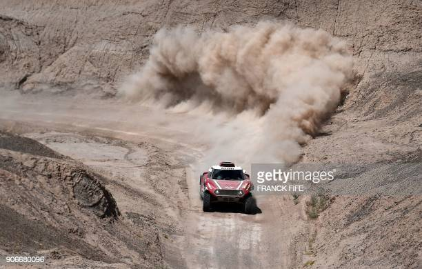 TOPSHOT Mini's Finnish driver Mikko Hirvonen and German codriver Andreas Schulz compete during the 2018 Dakar Rally's Stage 12 between Chilecito and...