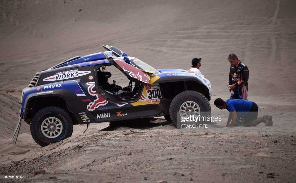 Mini S Spanish Driver Carlos Sainz Of Spain Stands Next To His Car