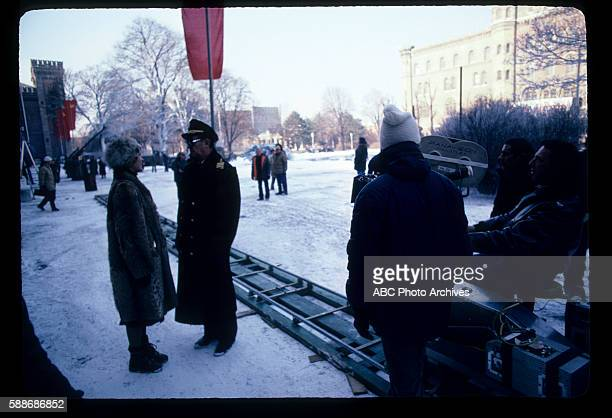 Miniseries BehindtheScenes Coverage Airdate February 6 through 11 February 13 1983 PRODUCTION SHOT OF VICTORIA TENNANT AND ROBERT MITCHUM ON