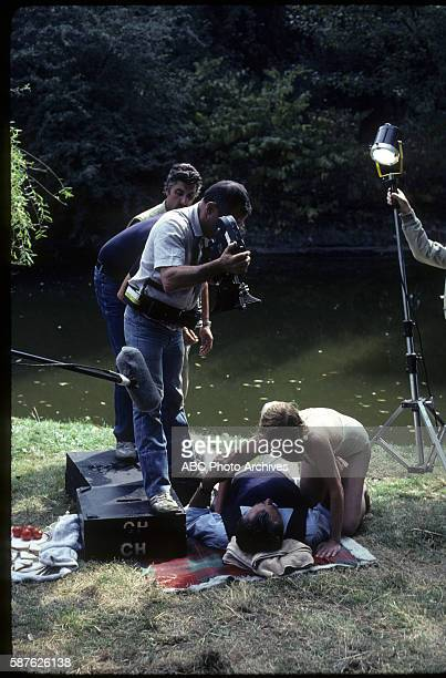 Miniseries BehindtheScenes Coverage Airdate February 6 through 11 and February 13 1983 PRODUCTION SHOT OF ROBERT MITCHUM AND
