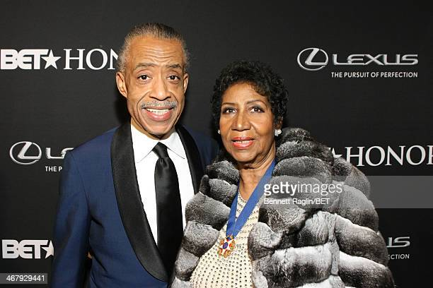 Minister Al Sharpton and singer Aretha Franklin attend the BET Honors 2014 red carpet presented by Lexus at Warner Theatre on February 8 2014 in...