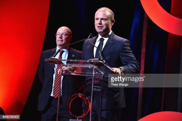 Minister Alistair Burt MP and Prime Minister of Malta Joseph Muscat speak onstage during Global Citizen Live at NYU Skirball Center on September 18...