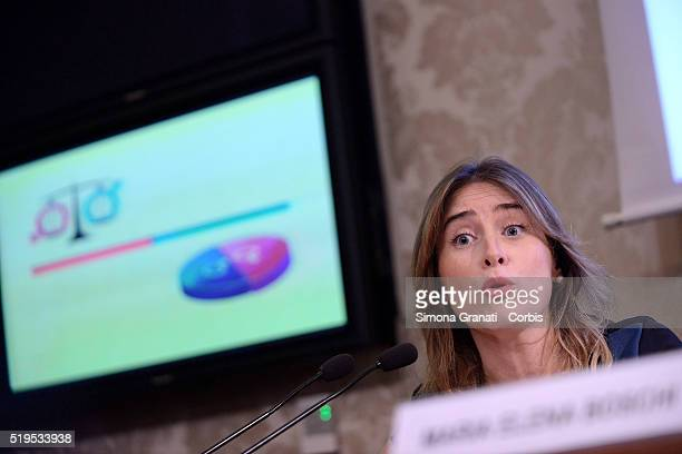 Minister and lawyer Maria Elena Boschi attends a press conference on gender equality in regional electoral laws on April 5 2016 in Rome Italy
