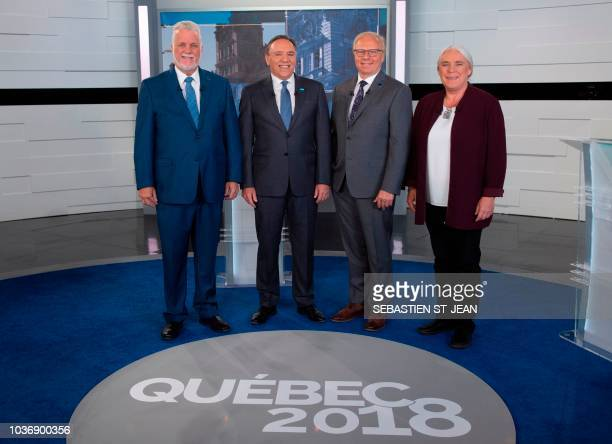Minister and Liberal party leader Philippe Couillard coalition Avenir Quebec party leader Francois Legault Quebecers Party leader JeanFracois Lisse...