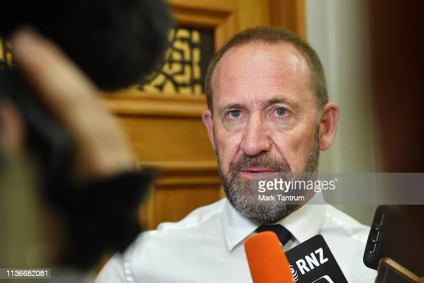 Minister Andrew Little speaks to media at Parliament as considers gun law reforms on March 19 2019 in Wellington New Zealand 50 people were killed...