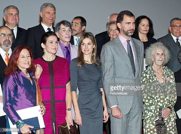 Minister Angeles Goznalez Sinde Princess Letizia of Spain and Prince Felipe of Spain pose with Fine Arts Gold Medals winners at the Atalaya Museum on...