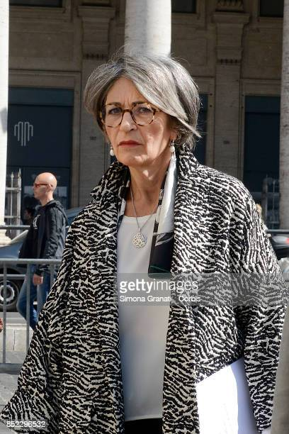 Minister Anna Finocchiaro arrives at Palazzo Chigi to attend the Council of Ministers on the Economic and Financial Document 2017 on September 23...