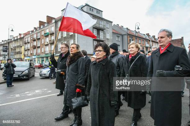Minister Anna Maria Anders and Waldemar Bonkowski are seen during the Cursed soldiers Day parade on 26 February 2017 in Gdansk Poland The Cursed...