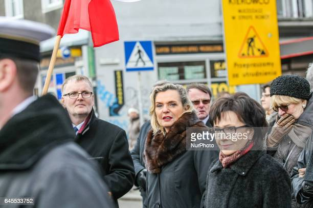 Minister Anna Maria Anders is seen during the Cursed soldiers Day parade on 26 February 2017 in Gdansk Poland The Cursed soldiers were a members of...