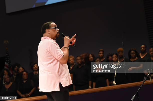 Minister Artist Richard Smallwood speaks during soundcheck before an Evening with Richard Smallwood and Yolanda Adams benefiting The National Museum...