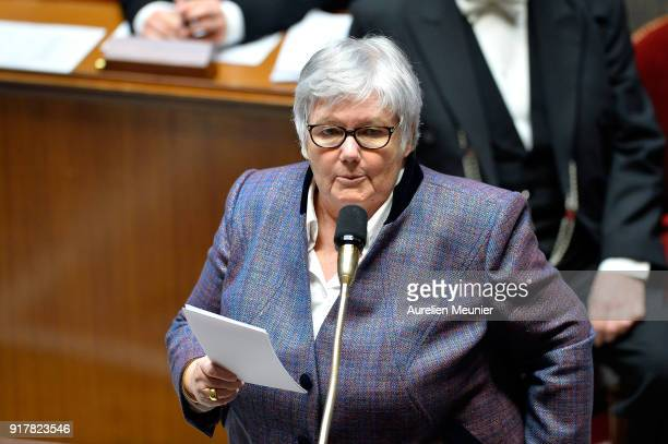 Minister attached to the Minister of the Interior Jacqueline Gourault answers deputies questions during the weekly session of questions to the...