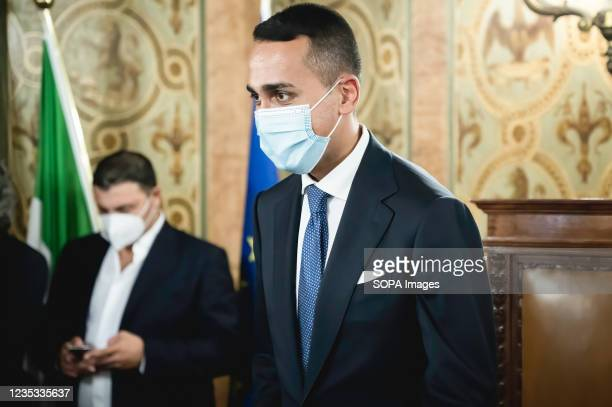 Minister Di Maio seen before his speech at the press conference. Italian Minister of Foreign Affairs and International Cooperation Luigi di Maio...