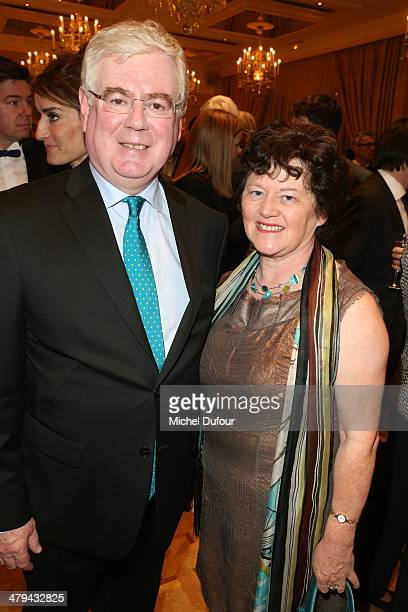 Minister Eamon Gilmore and his wife attend the Rugby Des Oies Sauvages' Benefit Dinner For 'Children's Ark Hospital Irland' At Pavillon Dauphine In...