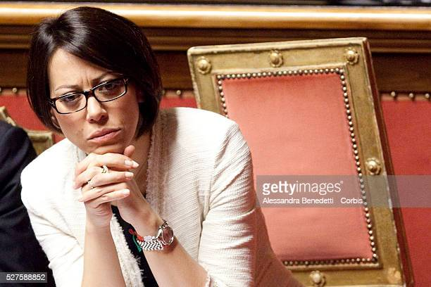 Minister for Agriculture and Forestry Nunzia De Girolamo attends Newly designated Italian Prime Minister Enrico Letta confidence vote at the Senate