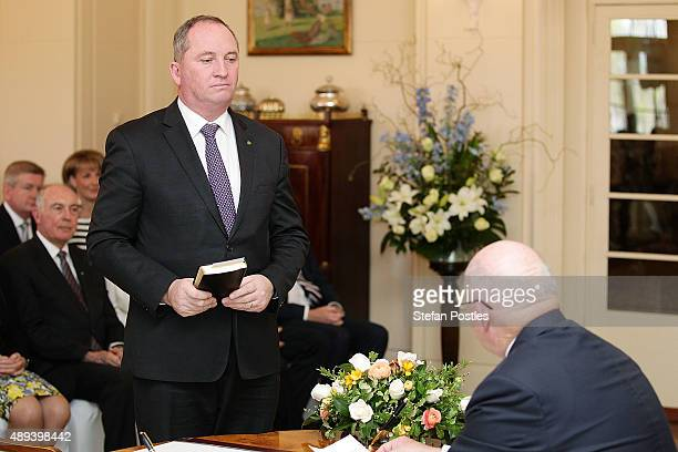 Minister for Agriculture and Water Resources Barnaby Joyce is sworn in by GovernorGeneral Sir Peter Cosgrove during the swearingin ceremony of the...