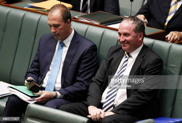 Minister for Agriculture Barnaby Joyce and Minister for Health Peter Dutton during House of Representatives question time at Parliament House on May...