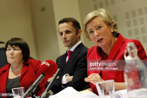 Minister for Children and Youth Affairs Frances Fitzgerald with coauthors Dr Geoffrey Shannon and Norah Gibbons of the Independent Child Death Review...