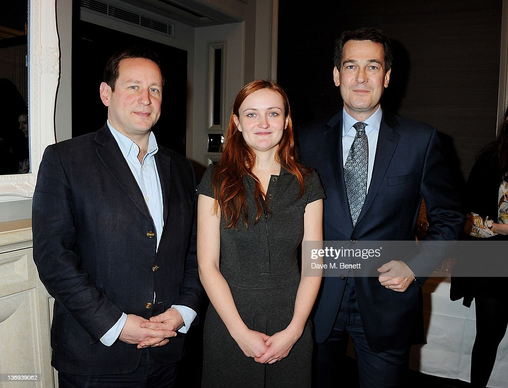 Minister for Culture Ed Vaizey, assistant to winning artist Noemie Goudal Caroline Kula and General Manager of Corinthia Hotel London Matthew Dixon attend the Corinthia Artist In Residence winners announcement at Corinthia Hotel London on January 13, 2012 in London, England.