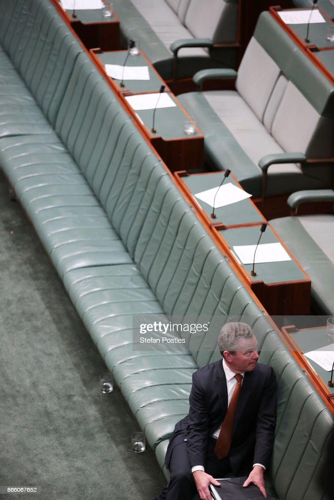 Minister for Defence Industry Christopher Pyne after House of Representatives question time at Parliament House on October 25, 2017 in Canberra, Australia. The Sydney and Melbourne offices of the Australian Workers Union' were raided by federal police yesterday as part of an investigation into donations made more than 10 years ago to the lobby group GetUp and to Labor candidates. Labor leader Bill Shorten has labelled the move as a smear campaign.