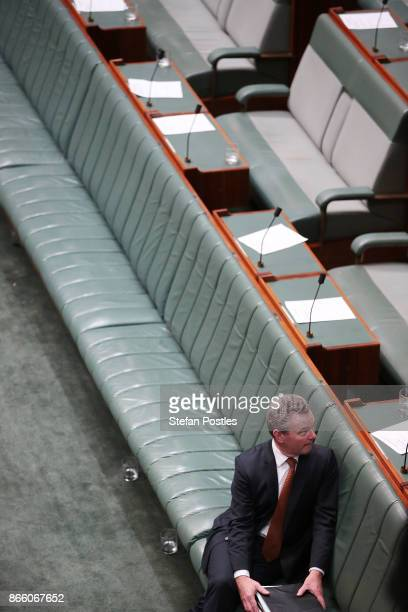 Minister for Defence Industry Christopher Pyne after House of Representatives question time at Parliament House on October 25 2017 in Canberra...