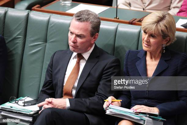 Minister for Defence Industry Christopher Pyne and Minister for Foreign Affairs Julie Bishop during House of Representatives question time at...