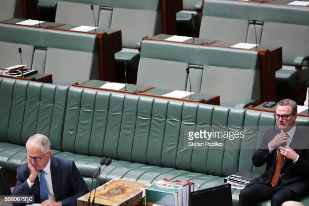 Minister for Defence Industry Christopher Pyne and Prime Minister Malcolm Turnbull prior to House of Representatives question time at Parliament...