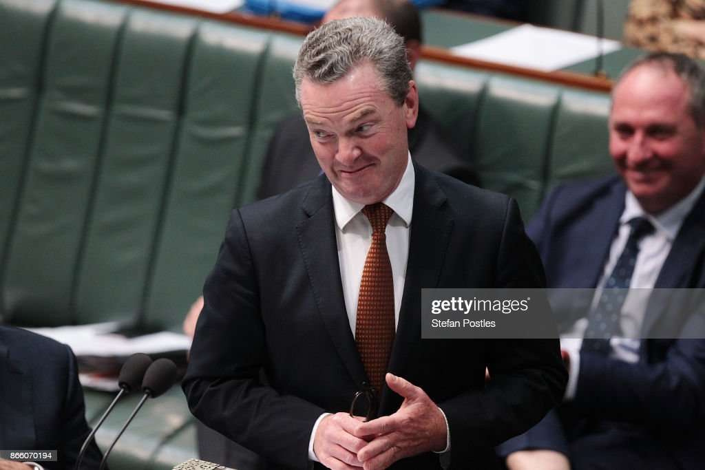 Minister for Defence Industry Christopher Pyne during House of Representatives question time at Parliament House on October 25, 2017 in Canberra, Australia. The Sydney and Melbourne offices of the Australian Workers Union' were raided by federal police yesterday as part of an investigation into donations made more than 10 years ago to the lobby group GetUp and to Labor candidates. Labor leader Bill Shorten has labelled the move as a smear campaign.