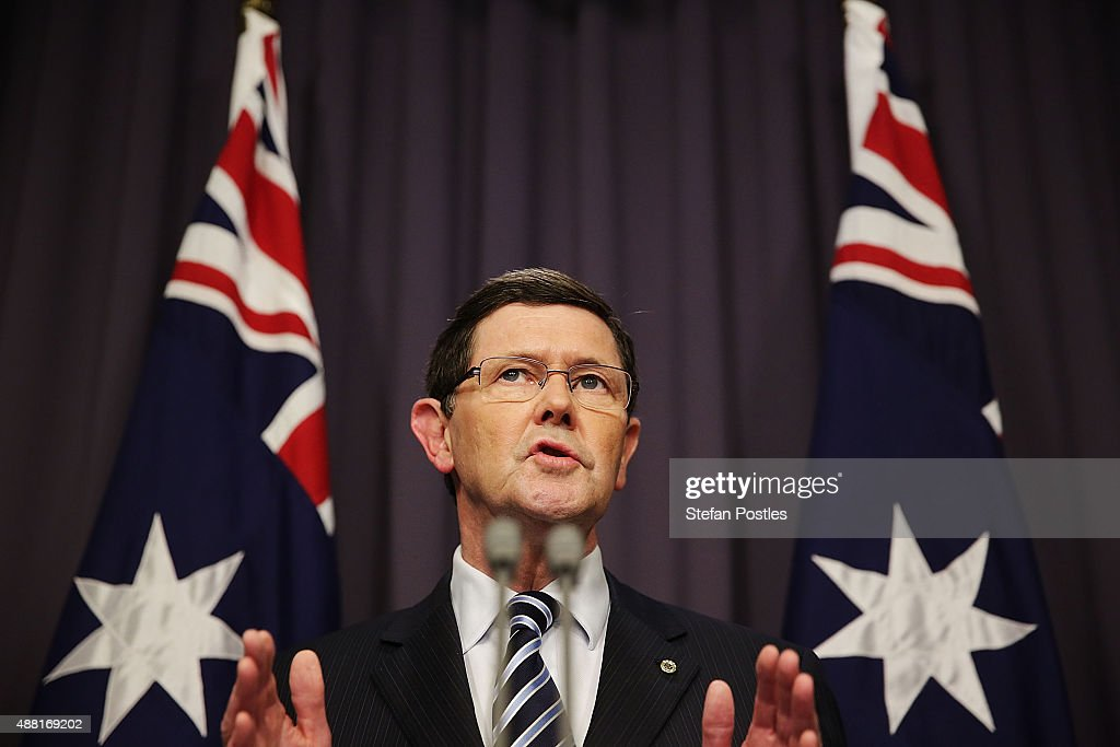 Minister for Defence Kevin Andrews speaks to the media during a press conference at Parliament House on September 14, 2015 in Canberra, Australia. Malcolm Turnbull announced this morning he would be challenging Tony Abbott for the Liberal Party leadership.
