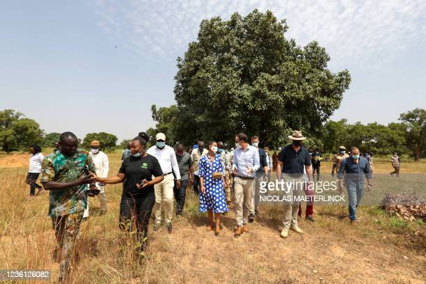 Minister for Development Cooperation Meryame Kitir pictured in Ouahigouya, Burkina Faso, on the first day of a working visit of Belgian cooperation...