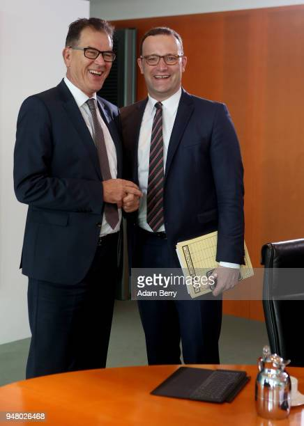Minister for Economic Cooperation and Development Gerd Mueller and Health Minister Jens Spahn arrive for the weekly German federal Cabinet meeting on...