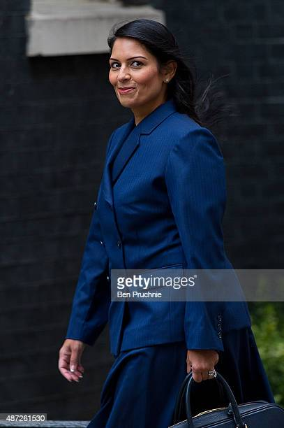 Minister for Employment Priti Patel arrives at Downing Street for a cabinet meeting on September 8 2015 in London England Prime minister David...
