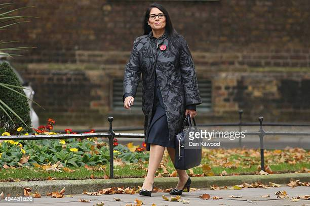 Minister for Employment Priti Patel arrives at Downing Street for a cabinet meeting on October 27 2015 in London England Peers in the House of Lords...